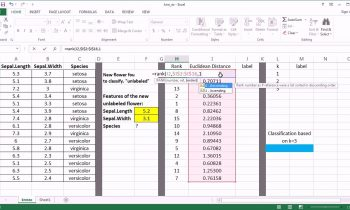 kNN Machine Learning Algorithm – Excel